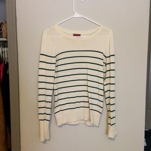 Cream and Emerald Green Stripped Sweater